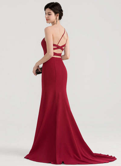 Trumpet/Mermaid One-Shoulder Sweep Train Satin Evening Dress With Split Front