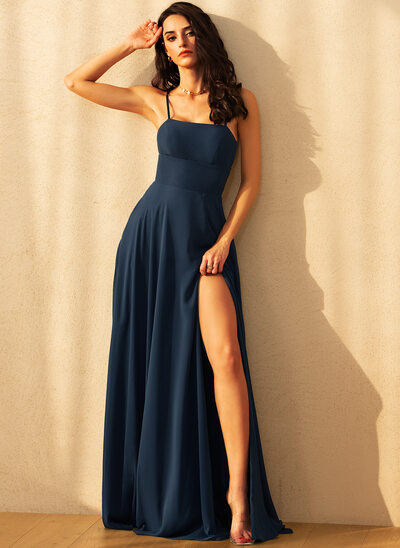 A-Line Square Neckline Floor-Length Chiffon Bridesmaid Dress With Split Front Pockets