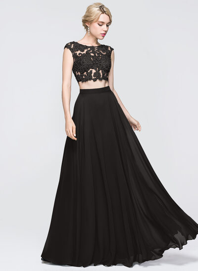 A-Line Scoop Neck Floor-Length Chiffon Prom Dresses With Beading Sequins