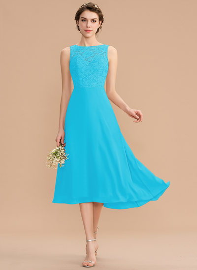 A-Line Scoop Neck Asymmetrical Chiffon Lace Bridesmaid Dress