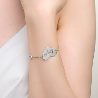 Custom Platinum Plated Delicate Chain Name Bracelets With Heart Diamond - Valentines Gifts For Her