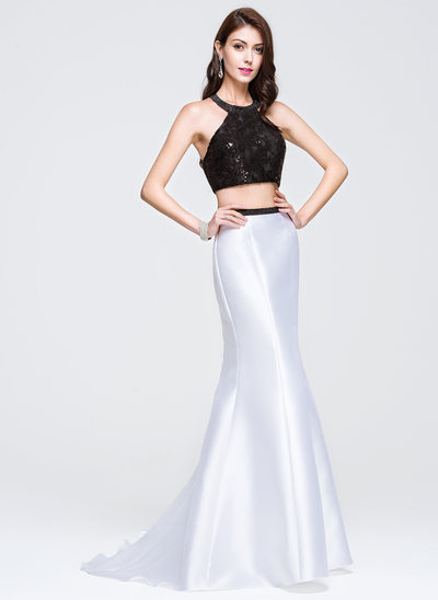 Trumpet/Mermaid Scoop Neck Sweep Train Satin Lace Prom Dresses With Sequins