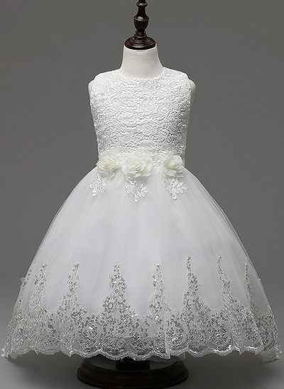Ball Gown Knee-length/Asymmetrical Flower Girl Dress - Cotton Blends Sleeveless Jewel With Lace/Flower(s)