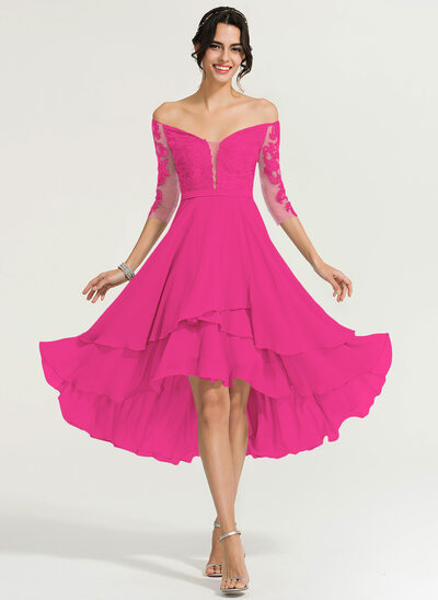 A-Line Off-the-Shoulder Asymmetrical Chiffon Cocktail Dress With Beading