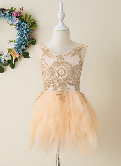 Ball-Gown/Princess Knee-length Flower Girl Dress - Tulle/Lace Sleeveless V-neck With Appliques