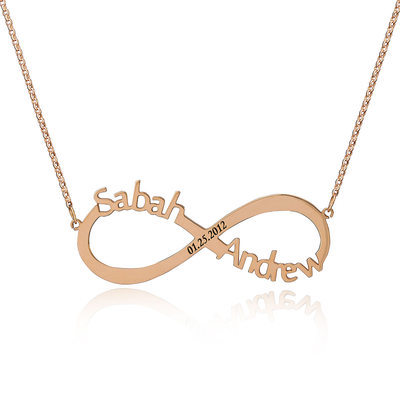 Custom 18k Rose Gold Plated Silver Infinity Nameplate Two Name Necklace Infinity Name Necklace