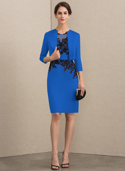 Sheath/Column Scoop Neck Knee-Length Satin Lace Mother of the Bride Dress With Beading Sequins