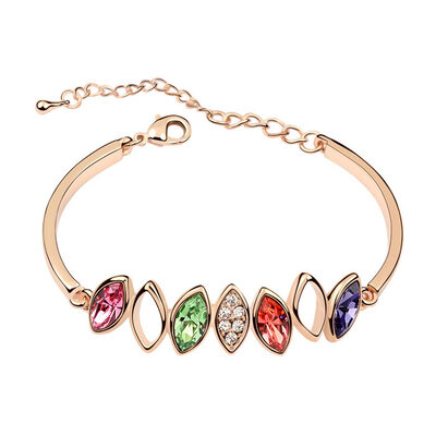 Ladies' Sparking Alloy/Rose Gold Plated With Marquise Austrian Crystal Bracelets For Bride/For Bridesmaid