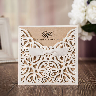 Personalized Flat Card Invitation Cards With Ribbons (Set of 50)