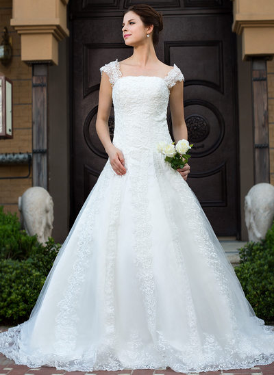 Ball-Gown Square Neckline Cathedral Train Tulle Wedding Dress With Lace Beading