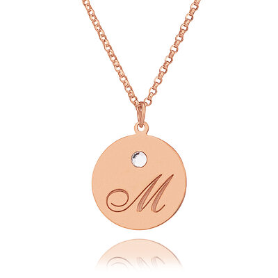 Custom 18k Rose Gold Plated Silver Engraving/Engraved Coin Initial Necklace Circle Necklace With Birthstone - Valentines Gifts