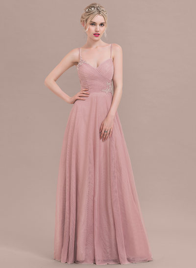 A-Line/Princess Sweetheart Floor-Length Tulle Prom Dresses With Ruffle Appliques Lace