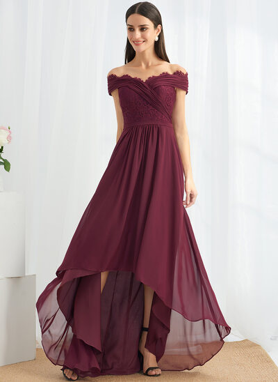 A-Line Off-the-Shoulder Asymmetrical Bridesmaid Dress With Lace