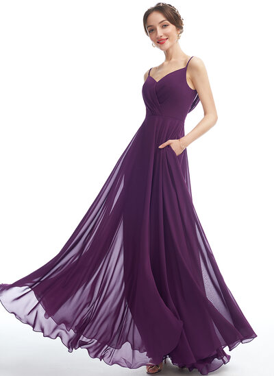 A-Line V-neck Floor-Length Bridesmaid Dress With Pockets
