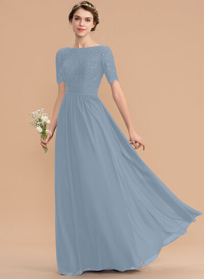 A-Line Scoop Neck Floor-Length Chiffon Lace Bridesmaid Dress With Sequins