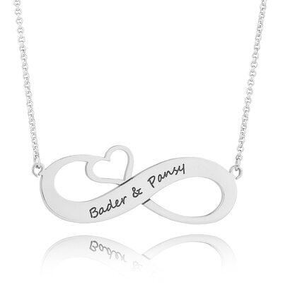 Custom Sterling Silver Engraved Necklace Infinity Name Necklace With Heart - Birthday Gifts Mother's Day Gifts