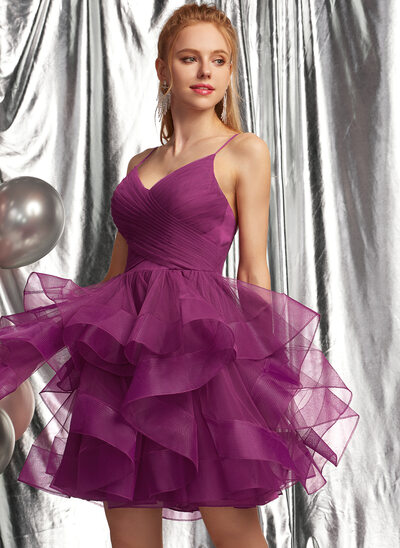 Ball-Gown/Princess V-neck Short/Mini Tulle Prom Dresses