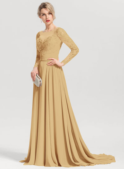 A-Line/Princess Scoop Neck Sweep Train Chiffon Evening Dress