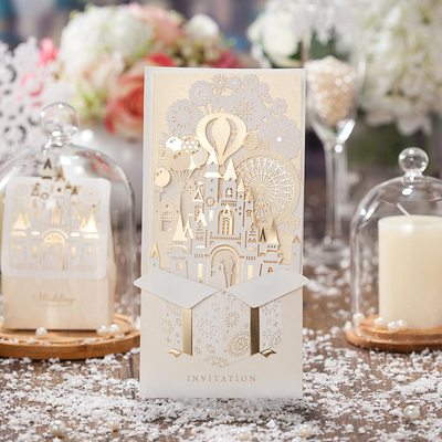 Fairytale Style Side Fold Invitation Cards