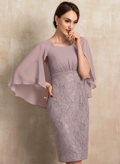 Sheath/Column Square Neckline Knee-Length Chiffon Lace Cocktail Dress With Ruffle Beading Sequins