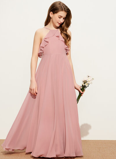 A-Line Square Neckline Floor-Length Chiffon Junior Bridesmaid Dress With Cascading Ruffles