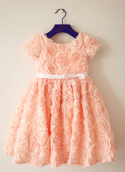 A-Line/Princess Knee-length Flower Girl Dress - Lace Short Sleeves Scoop Neck With Flower(s)/Bow(s)