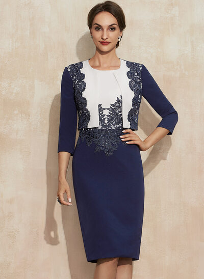 Sheath/Column Scoop Neck Knee-Length Stretch Crepe Lace Mother of the Bride Dress With Sequins
