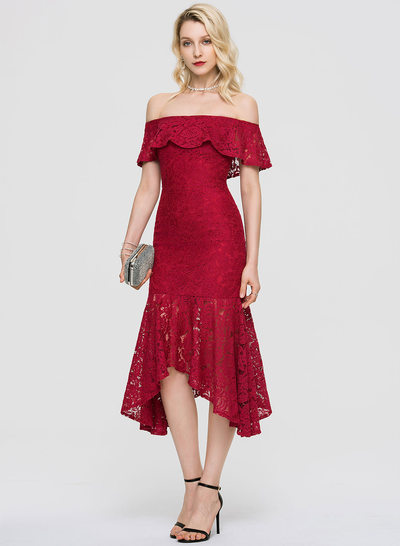097f67dd0 Trumpet/Mermaid Off-the-Shoulder Asymmetrical Lace Cocktail Dress With  Cascading Ruffles New
