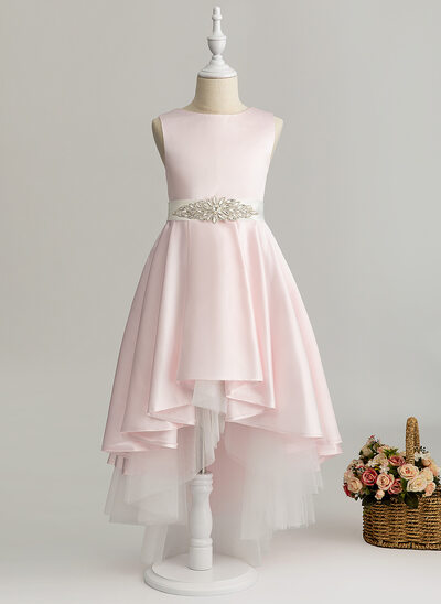A-Line Asymmetrical Flower Girl Dress - Satin Sleeveless Scoop Neck With Beading (Detachable sash)