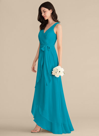 A-Line/Princess V-neck Asymmetrical Chiffon Bridesmaid Dress With Ruffle Bow(s)