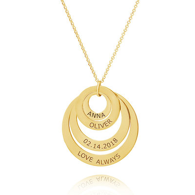 Custom 18k Gold Plated Four Engraved Necklace Family Necklace Circle Necklace With Kids Names - Valentines Gifts