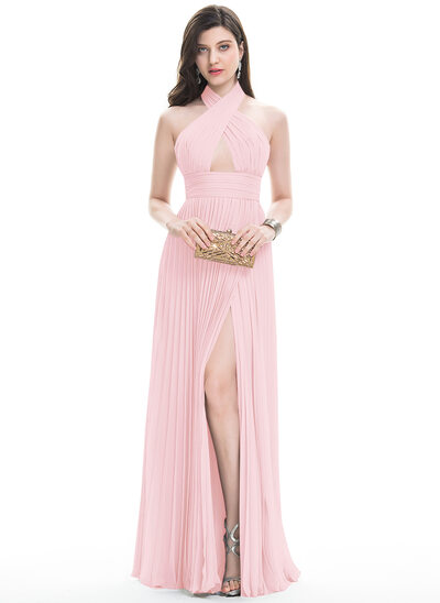 A-Line/Princess Halter Floor-Length Chiffon Evening Dress With Split Front Pleated