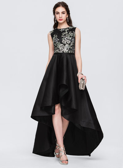 A-Line/Princess Scoop Neck Asymmetrical Satin Evening Dress With Lace