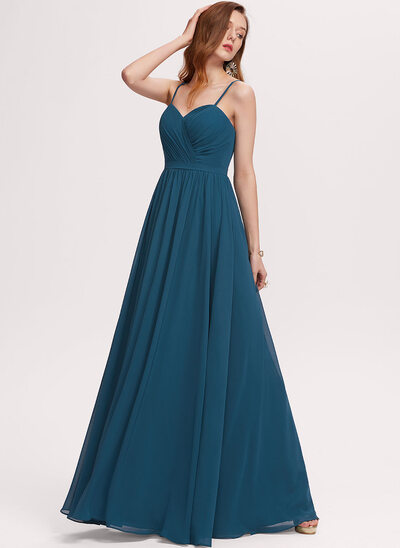 A-Line Sweetheart Floor-Length Chiffon Evening Dress With Ruffle