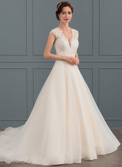 Ball-Gown V-neck Court Train Organza Wedding Dress