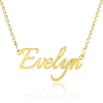 [Free Shipping]Custom 18k Gold Plated Silver Name Necklace (288211285)