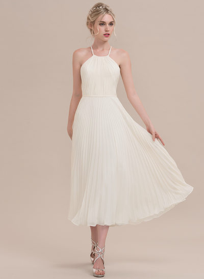 A-Line/Princess Scoop Neck Tea-Length Chiffon Cocktail Dress With Pleated