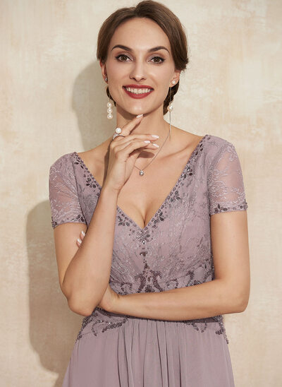 A-Line V-neck Asymmetrical Lace Chiffon Mother of the Bride Dress With Beading