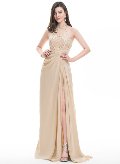 A-Line/Princess Scoop Neck Sweep Train Chiffon Prom Dresses With Ruffle Beading Sequins Split Front
