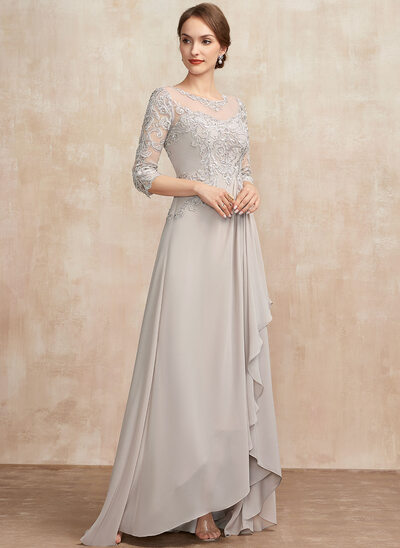 A-Line Scoop Neck Asymmetrical Chiffon Lace Evening Dress With Sequins