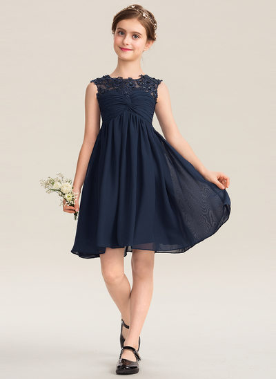 4a36ed27bb04 A-Line Scoop Neck Knee-Length Chiffon Lace Junior Bridesmaid Dress With  Ruffle Beading