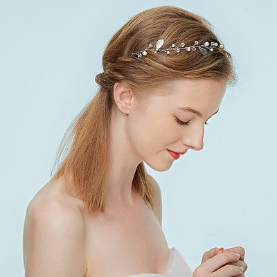 Ladies Pretty Alloy Headbands With Rhinestone/Venetian Pearl (Sold in single piece)