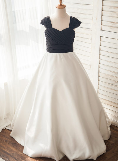 A-Line/Princess Floor-length Flower Girl Dress - Chiffon/Satin Sleeveless Straps