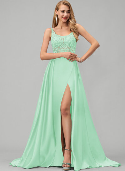 A-Line Square Neckline Sweep Train Satin Prom Dresses With Lace Sequins Split Front