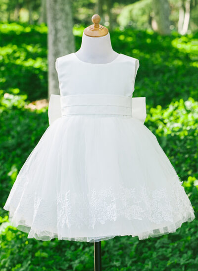 A-Line/Princess Flower Girl Dress - Satin/Tulle Sleeveless Scoop Neck With Bow(s)