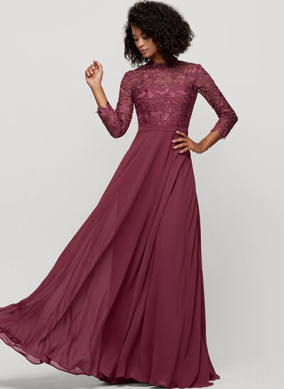 A-Line High Neck Floor-Length Chiffon Bridesmaid Dress