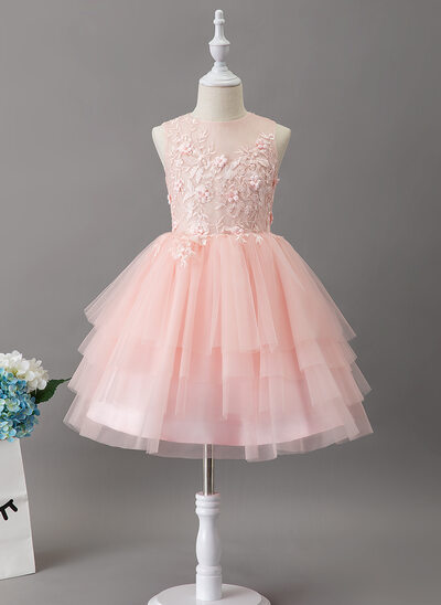Ball-Gown/Princess Knee-length Flower Girl Dress - Tulle/Lace Sleeveless Scoop Neck With Lace/Beading
