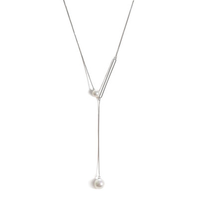 Ladies' Charming S925 Sliver With Round Pearl Necklaces For Bride/For Bridesmaid/For Mother