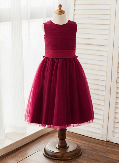 A-Line/Princess Knee-length Flower Girl Dress - Tulle Sleeveless Scoop Neck With Sash