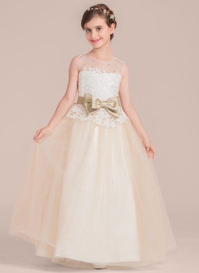 Ball-Gown Scoop Neck Floor-Length Tulle Junior Bridesmaid Dress With Sash Beading Bow(s)